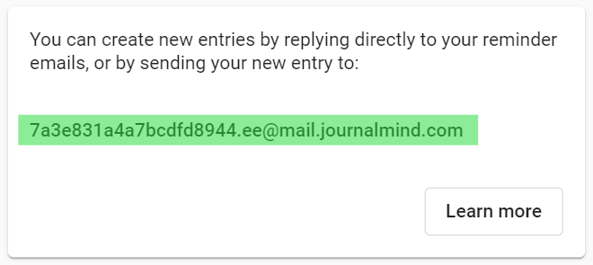 An image showing where to find your journal's email address